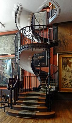 """I think these are the stairs in Charlotts """"Castle"""" This elegant and stunning staircase can be found at Musee Gustave Moreau in Paris. See 25 of the most creative and modern staircase designs from """"homedit. Future House, My House, Modern Staircase, Staircase Design, Spiral Staircases, Stair Design, Staircase Ideas, Wrought Iron Staircase, Wrought Iron Decor"""