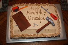 Birthday cake for him men products 21 Ideas – - Birthday Cake Blue Ideen Birthday Cakes For Men, Birthday Cards For Brother, Grandpa Birthday, 70th Birthday Parties, Cake Birthday, Birthday Ideas, Birthday Decorations, Tool Box Cake, Dad Cake