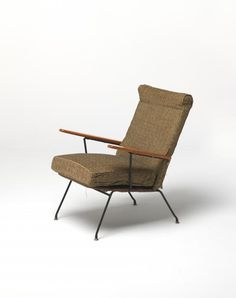 Fred Lowen; Enameled Steel and Pine 'UTW' Lounge Chair for Fler, 1959.