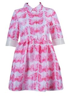 Butterfly Print Shirt Dress With Half Sleeve
