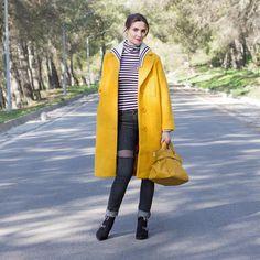 Mustard Sailor Collar Coat