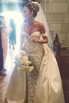 2017 Lace Wedding Dresses Off Shoulder Sweetheart Mermaid Dresses With Detachable Over Skirt Charming Wedding Dresses Z408 Wedding Dresses On Sale Cheap Bridal Gowns From Rosemarybridaldress, $189.95| Dhgate.Com