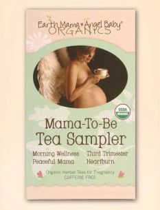 """Mama-to-be Sampler Tea By Earth Mama Angel Baby: Fabulous tea to help ease heart burn and morning sickness. There is also a """"Peaceful Mamma"""" tea that is ultimate for winding down."""