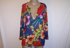 CHICO'S Sz 1 Shirt Top Blouse 100% Silk Sheer Floral  Crinkled Colorful Small #Chicos #Blouse #Casual