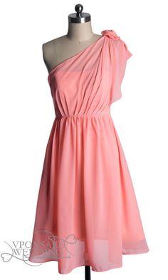 Short One Shoulder Blush Pink Bridesmaid Dresses DVW0066   VPonsale Wedding Custom Dresses. In different color