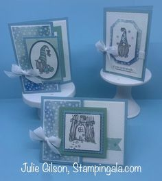 Gnome for the Holidays Christmas Cards.  #Stampin' Up, #Stampin' Gala, #Julie Gilson, #Fun Fold Cards, #August-December 2020 Stampin' Up Mini Catalog Holiday Cards, Christmas Cards, Christmas Gnome, Christmas 2016, Christmas Trees, Stamp A Stack, Stamp Sets, Stampin Up Christmas, Animal Cards