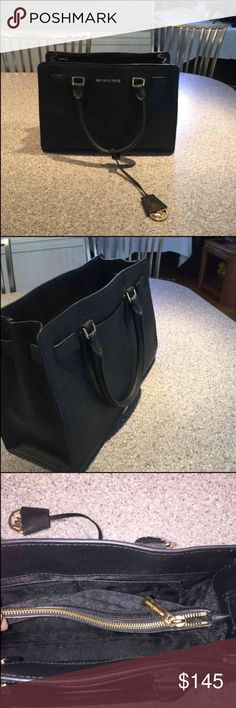 Black Saffiano Leather Michael Kors Bag In almost perfect condition inside and out! Used for about 6 months! Matching wallet can be bought separately or bundled with bag for a discounted price. 100% AUTHENTIC. Bought directly from Macy's. Measures about 8.5 in in height and about 11.5 in in length. Michael Kors Bags Shoulder Bags