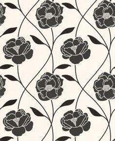 18093 Contour Vine Black,White Floral Wallpaper   Graham & Brown