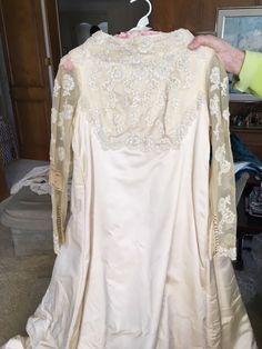 Small Vintage Lace Ecru Crime Wedding Gown Bridal Satin Petite Custom | eBay