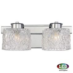 """Platinum PCSW8602LED Seaview 2 Light 15"""" Wide Bathroom Vanity Light with Glass B Polished Chrome Indoor Lighting Bathroom Fixtures Vanity Light"""