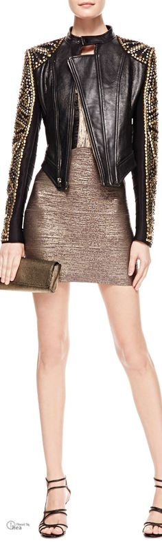 Herve Leger ● Studded  Leather Jacket & Two-Tone Metallic Bandage Dress cute outfits for girls 2017