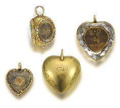 Three mid 18th century 'Stuart Crystal' memorial jewels