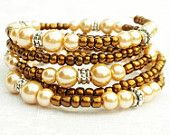 Memory Wire Bracelet Cream Tan Pearls Brown 5 Wraps