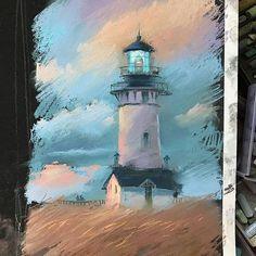 У меня сейчас желание делать совершенно легкие, этюдные, как бы незаконченные работы. Я всегда с восторгом смотрю на Картины, где очень много деталей, но понимаю, что мой характер другой.... а ещё какой-то сине-фиолетовый период у меня вырисовывается :) может, потому что из последних покупок пастель mount vision серо-голубые? :)))) #пастель #сухаяпастель #маяк #lighthouse #pastel #pastelpainting #topcreator
