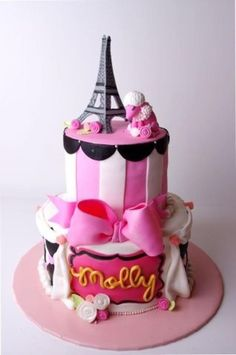 I made this Parisian-themed birthday cake for my daughter's seventh birthday. I got inspiration from several photos on this site. Had a lot of fun with this one, especially the gumpaste bow and the poodle.
