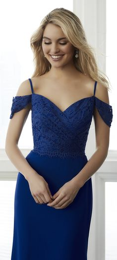 This draped lace bodice features a delicate lace trim that is placed over the waist. There is a draped lace off the shoulder detail that adds flair. #Bridesmaids #after5 #FallWedding  Www.afterfiveformals.com