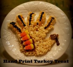 Fun With The Kids! Edible Hand Print Turkey Treat.  This would be a fun craft to do with the kids! #thanksgiving #craft #recipe