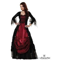 Gothic Ladies Vampiress Elite Costume ($120) ❤ liked on Polyvore featuring costumes, halloween costumes, multicolor, womens halloween costumes, adult costume, womens vampire costume, womens snow white costume and gothic halloween costumes