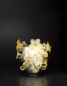 Silvered Venetian with Golden Amber Lilies