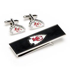 Kansas City Chiefs Cufflinks and Money Clip Gift Set