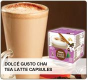 Dolce Gusto Chai Tea Latte Capsules - A smooth blend of black tea infused with milk and exotic flavors like cinnamon, cardamom, cloves, and ginger.  http://www.coffeecow.com/PublicPages/ProductDetail.aspx?Qstring=1084_0_51_-1_