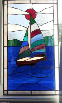 2 Beautiful Stained Glass Window Suncatcher Sailboat Lighthouse | eBay