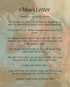Chloe's Letter -- I shipped them so hard and would have been fine if for half a season they got together but no!