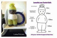 Loom Knit Comfort Dolls Pattern – Loom knitting for kids Knitting Dolls Free Patterns, Knitted Dolls Free, Loom Knitting Projects, Knitting For Kids, Loom Patterns, Knitting Stitches, Crochet Dolls, Knitting Loom Dolls, Circular Knitting Machine