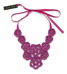 Statement necklace / Purple necklace / Crochet necklace /