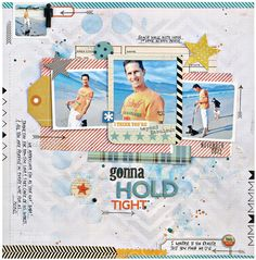 (Kim Watson) An uncluttered 4-photo layout with trendy colours and a fun background technique. #12x12