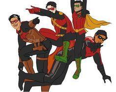 Red Hood(Jason Todd), Red Robin(Tim Drake), Robin(Damian Wayne) and Nightwing(Dick Grayson) ❤