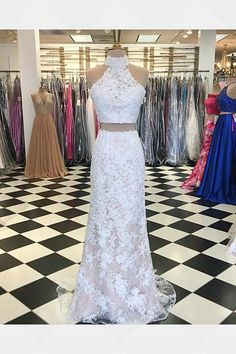 26267a49f5 Light Blue Mermaid Prom Dresses Halter Beaded Elastic Satin Two Piece Prom  Party Gowns