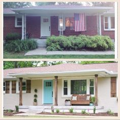 Before and after: brick ranch painted white, wood shutters added and porch updated.