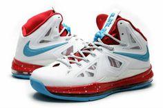 fdb20b2930fd Lebron 10 Lebron James Shoes 2013 Home White Crimsons Chlorine Blue 541100  001