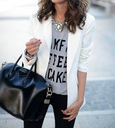 t shirt blazer statement necklace