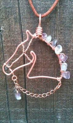 Horse Necklace. Horse Jewelry. Copper Wire. Green and Purple. Fluorite Stones. Wire Jewelry