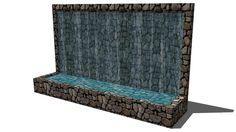 Salt d'aigua horitzontal, de dimensions 4x1x2,4m, sobre mur de pedra
