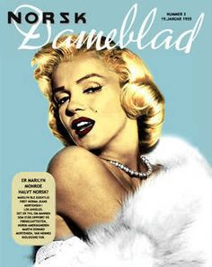 Norsk Dameblad - 1955, magazine from Norway. Front cover photo of Marilyn Monroe by Frank Powolny, 1953.