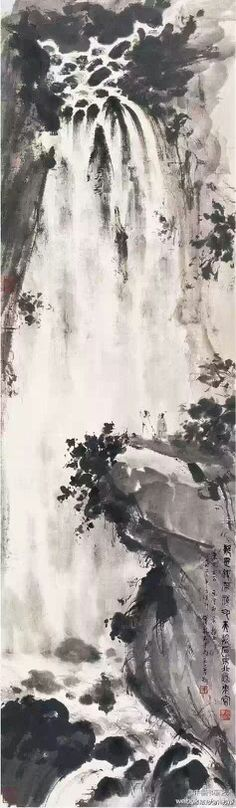 "Fu Baoshi works ""view waterfall figure 】 【 picture faction Fourier masculinity, waterfalls, gurgling water, there are two coats as if place oneself in the world of fairyland."