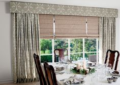 Took keep the view, but to also add privacy and light control while dining, we utilized layered roller shades with drapery and a top treatment. Traditional Window Treatments, Traditional Curtains, Traditional Windows, Craftsman Curtains, Smith And Noble, Dining Room Windows, Eclectic Living Room, Cool Curtains, Roller Shades