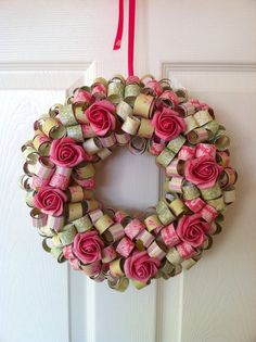 Paper Wreath with Roses Mrs Sparkles Boutique