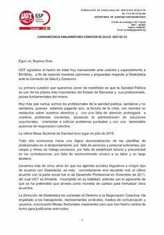 UGT expone en el Parlamento Vasco sus opiniones y propuestas respecto a Osakidetza ante la Comisión de Salud y Consumo.