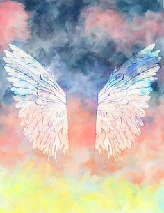 Herunterladen - Aquarell Hintergrund mit Flügeln — Stockillustration #65331195