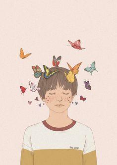 판교 현대백화점 현대어린이책 미술관 개관 1주년 전시회 2016.11.18 ~ 2017.3.12 다섯번째 작품_ 나비 모양의 주근깨를 가진 소년에게선 언제나 형형색색의 나비들이 보여요 어디서 나타나는거지?^^