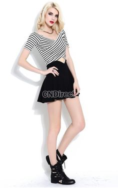 Women sexy Cross Striped casual V-Neck T-shirt tops + Black contrast skirt suit
