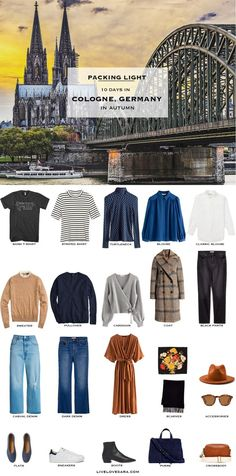 What to pack for Cologne packing list Germany Packing list Packing Light Capsule Wardrobe travel wardrobe Fall packing list travel capsule livelovesara Travel Wardrobe, Capsule Wardrobe, Travel Outfits, Packing Outfits, Fall Packing List, Packing Tips, Travel Packing, Vacation Travel, Travel Tips
