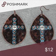 Copper Medallion Cross Earrings Brand new patina copper cross earrings. Boho, gypsy, tribal, Aztec, Navajo, southern, southwest, western, rodeo, cowgirl style. Jewelry Earrings