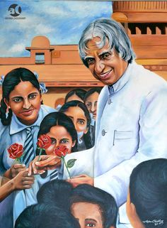 Abdul Kalam with school children, oil on canvas, 30 x 40 inches National Flag India, Fancy Dress Competition, India Painting, Abdul Kalam, Travel Wallpaper, Indian Army, Pencil Art Drawings, Child Day, Hd Photos