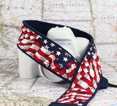 Stars and Stripes too Flag dSLR Camera Strap Red White by ten8e