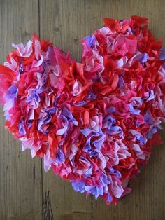 Tissue paper heart... but imagine if these were real petals? What a lovely gift idea.